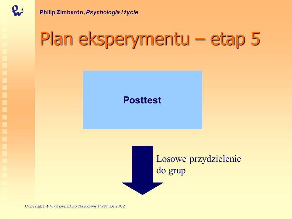 Plan eksperymentu – etap 5 Philip Zimbardo, Psychologia i życie Posttest Losowe przydzielenie do grup Copyright © Wydawnictwo Naukowe PWN SA 2002