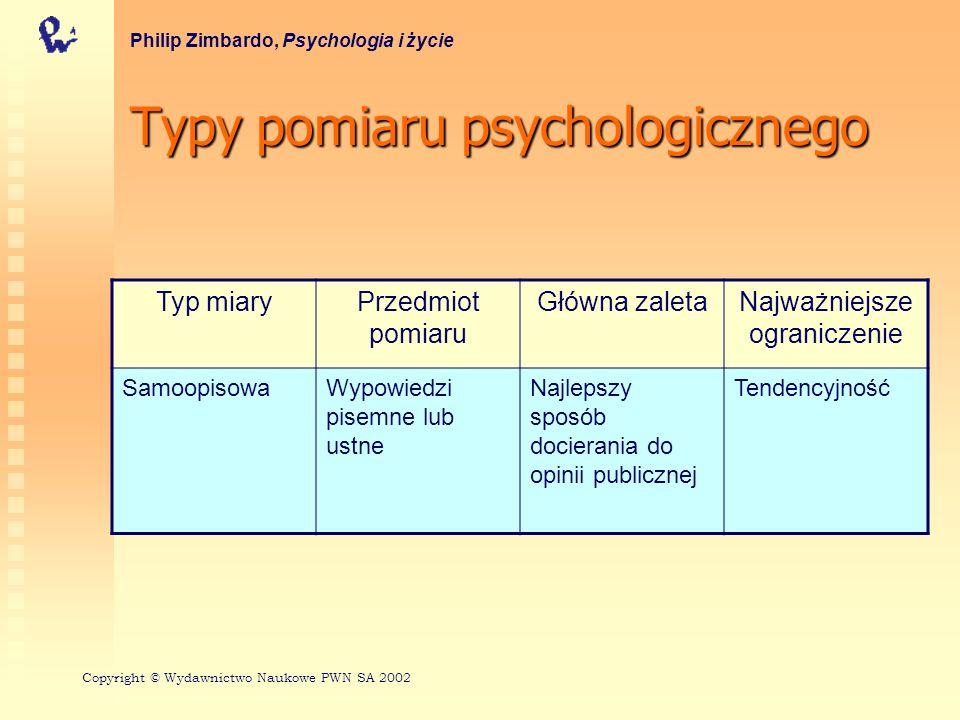 Typypomiarupsychologicznego Typy pomiaru psychologicznego Philip Zimbardo, Psychologia i życie Typ miaryPrzedmiot pomiaru Główna zaletaNajważniejsze o