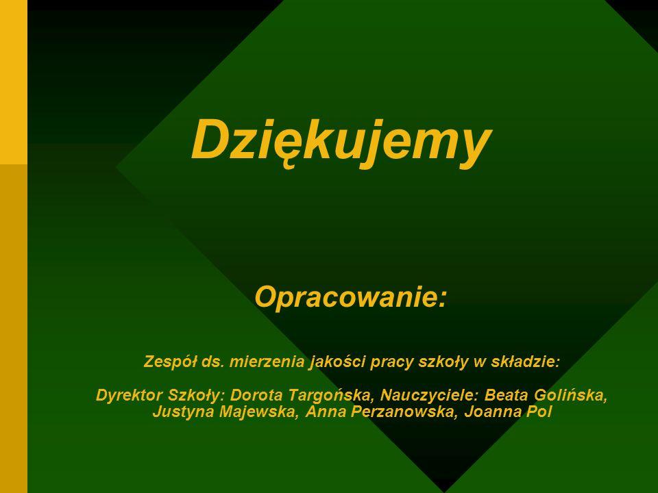Zespół ds. mierzenia jakości pracy szkoły w składzie: Dyrektor Szkoły: Dorota Targońska, Nauczyciele: Beata Golińska, Justyna Majewska, Anna Perzanows