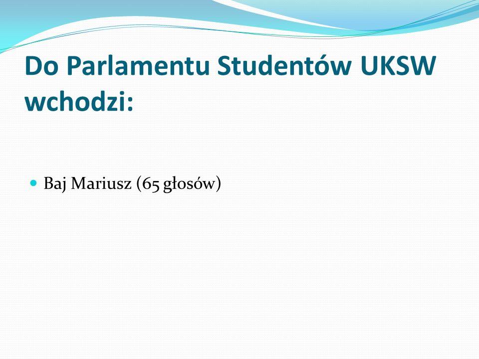 Do Parlamentu Studentów UKSW wchodzi: Baj Mariusz (65 głosów)