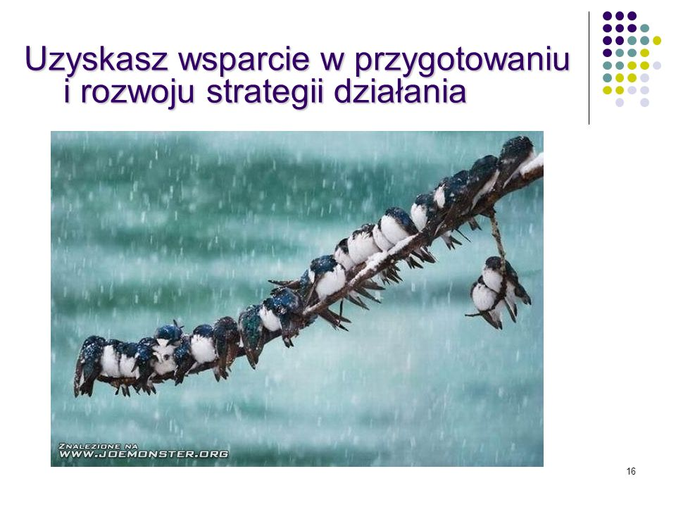 16 Uzyskasz wsparcie w przygotowaniu i rozwoju strategii działania