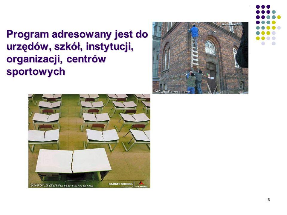 18 Program adresowany jest do urzędów, szkół, instytucji, organizacji, centrów sportowych