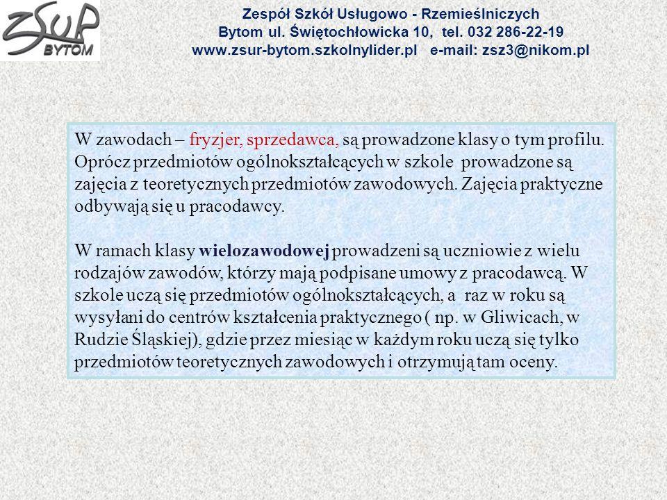Zespół Szkół Usługowo - Rzemieślniczych Bytom ul. Świętochłowicka 10, tel. 032 286-22-19 www.zsur-bytom.szkolnylider.pl e-mail: zsz3@nikom.pl W zawoda