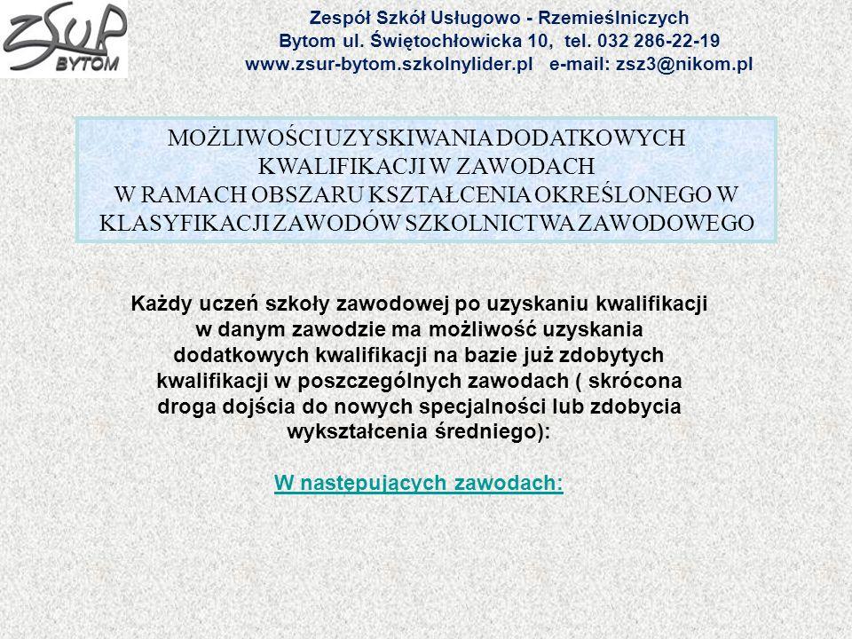 Zespół Szkół Usługowo - Rzemieślniczych Bytom ul. Świętochłowicka 10, tel. 032 286-22-19 www.zsur-bytom.szkolnylider.pl e-mail: zsz3@nikom.pl MOŻLIWOŚ