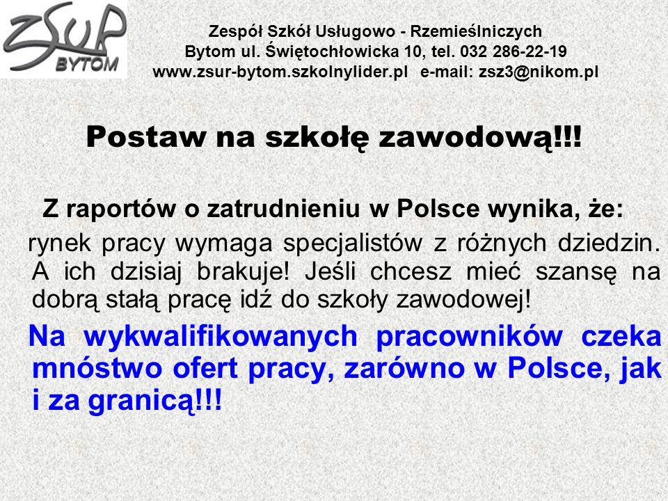 Zespół Szkół Usługowo - Rzemieślniczych Bytom ul. Świętochłowicka 10, tel. 032 286-22-19 www.zsur-bytom.szkolnylider.pl e-mail: zsz3@nikom.pl Postaw n
