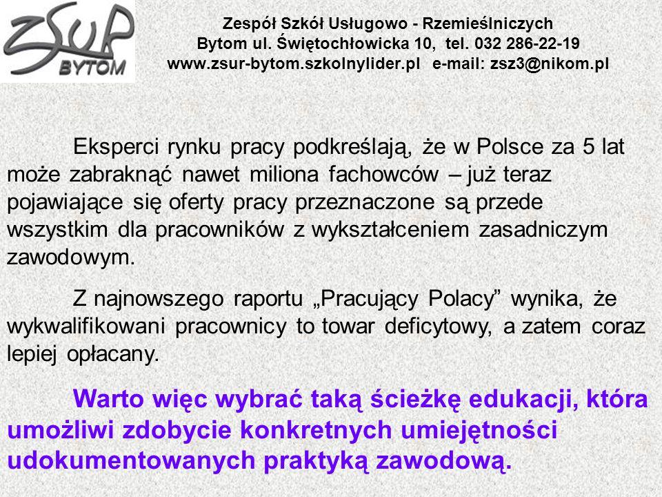 Zespół Szkół Usługowo - Rzemieślniczych Bytom ul. Świętochłowicka 10, tel. 032 286-22-19 www.zsur-bytom.szkolnylider.pl e-mail: zsz3@nikom.pl Eksperci
