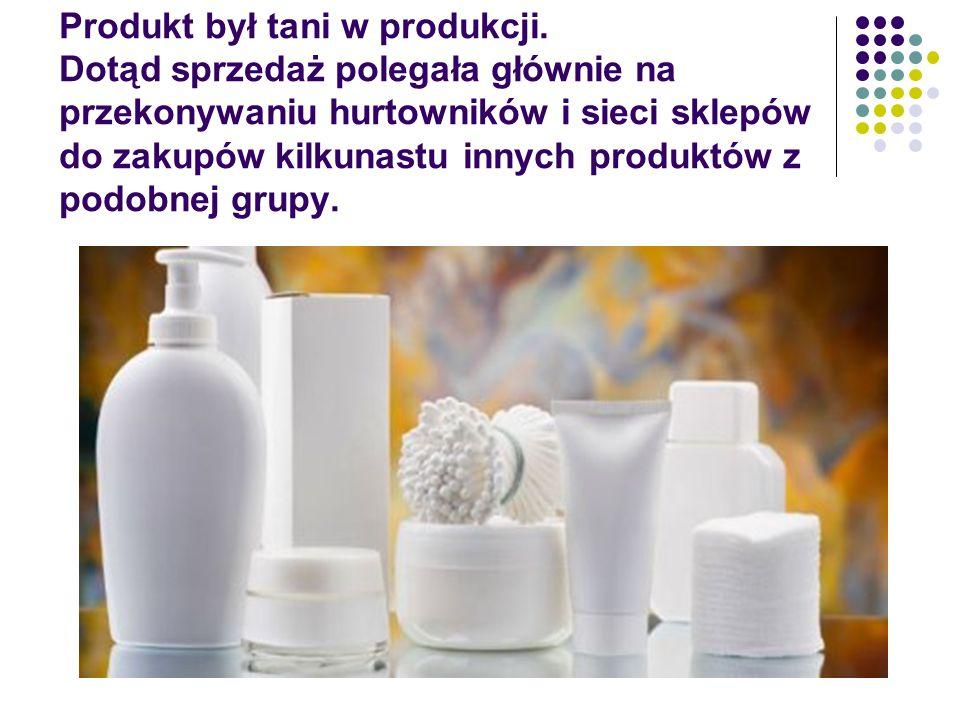 Produkt był tani w produkcji. Dotąd sprzedaż polegała głównie na przekonywaniu hurtowników i sieci sklepów do zakupów kilkunastu innych produktów z po