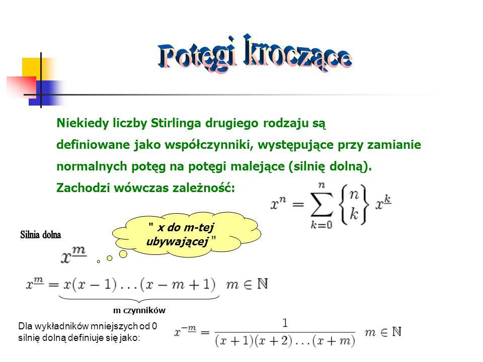 Niekiedy liczby Stirlinga drugiego rodzaju są definiowane jako współczynniki, występujące przy zamianie normalnych potęg na potęgi malejące (silnię do