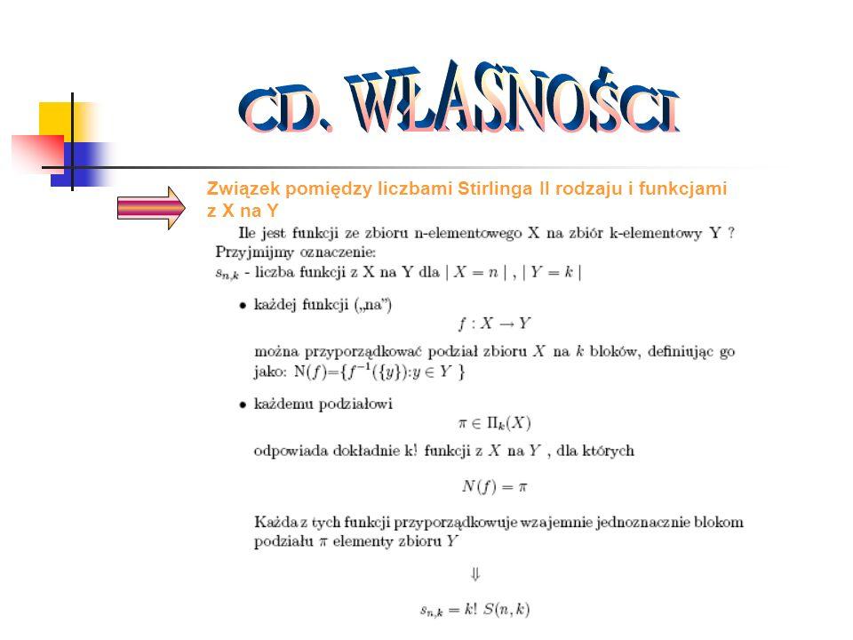 Związek pomiędzy liczbami Stirlinga II rodzaju i funkcjami z X na Y
