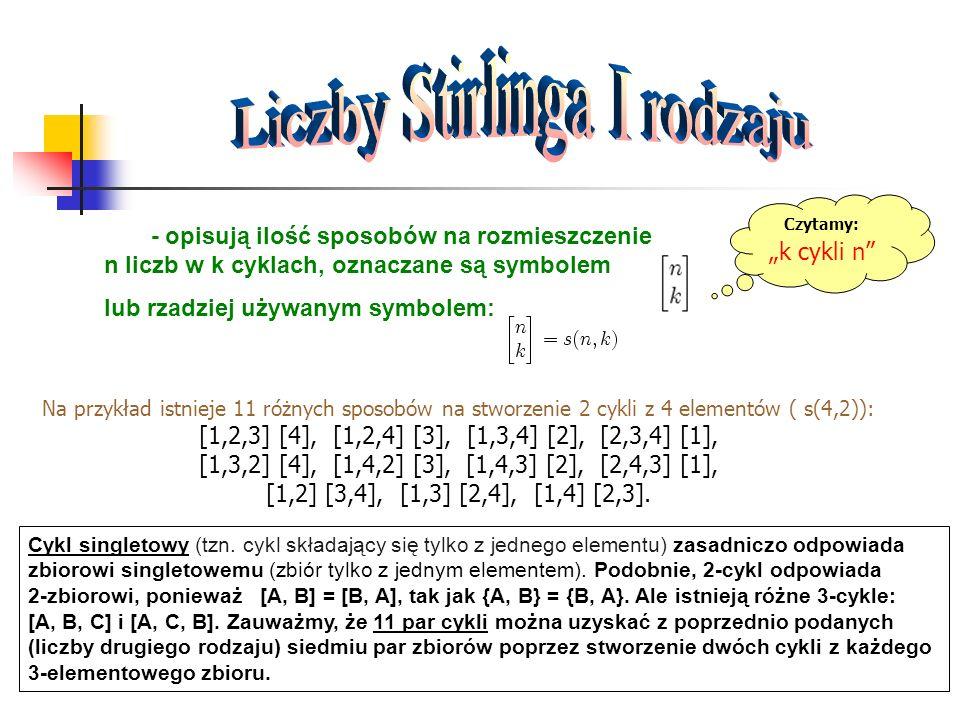 - opisują ilość sposobów na rozmieszczenie n liczb w k cyklach, oznaczane są symbolem lub rzadziej używanym symbolem: Czytamy: k cykli n Na przykład i