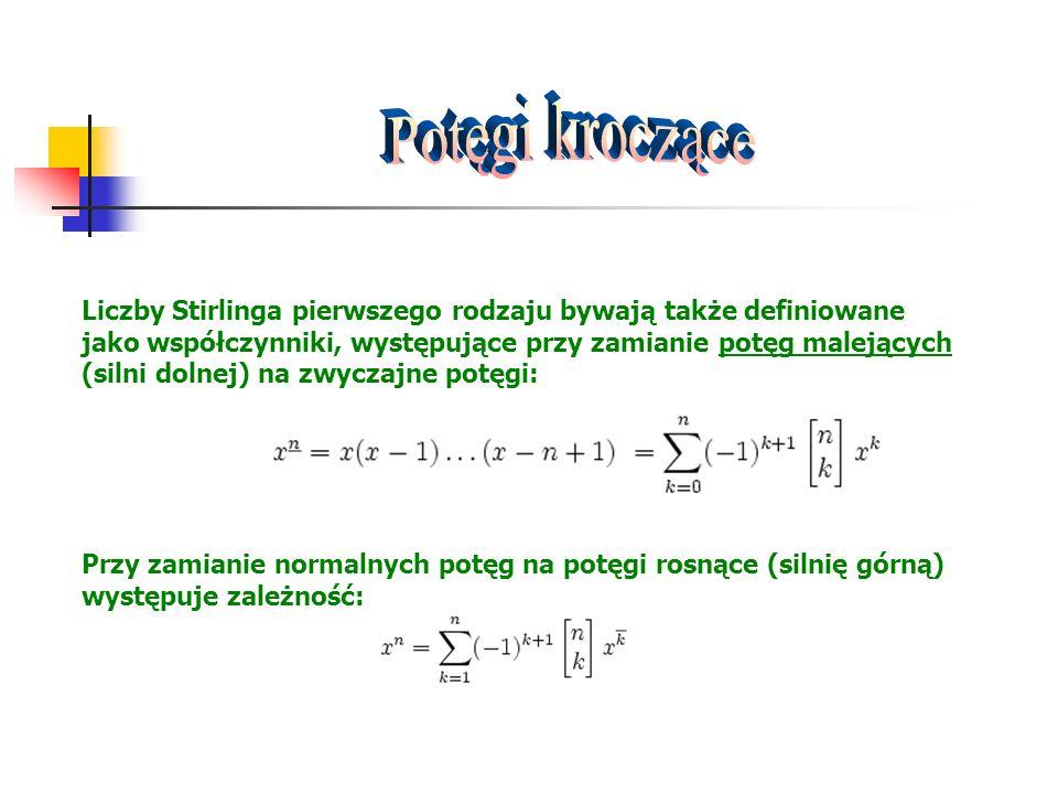 Liczby Stirlinga pierwszego rodzaju bywają także definiowane jako współczynniki, występujące przy zamianie potęg malejących (silni dolnej) na zwyczajn