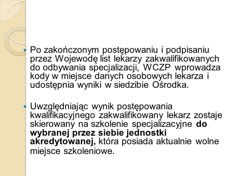 Po zakończonym postępowaniu i podpisaniu przez Wojewodę list lekarzy zakwalifikowanych do odbywania specjalizacji, WCZP wprowadza kody w miejsce danyc