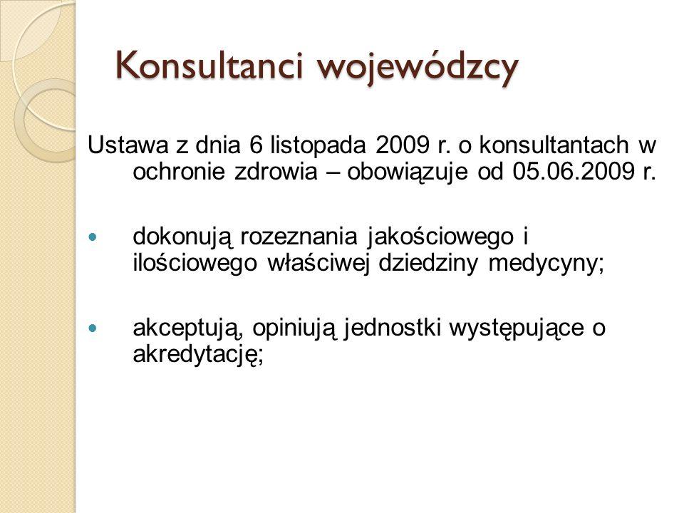 Konsultanci wojewódzcy Ustawa z dnia 6 listopada 2009 r. o konsultantach w ochronie zdrowia – obowiązuje od 05.06.2009 r. dokonują rozeznania jakościo
