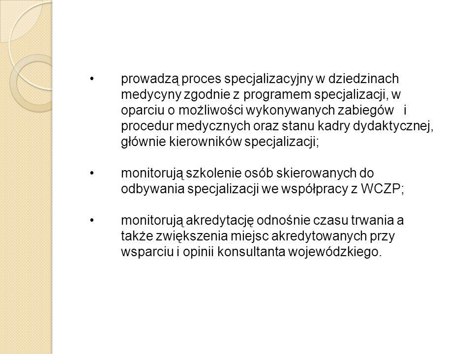 prowadzą proces specjalizacyjny w dziedzinach medycyny zgodnie z programem specjalizacji, w oparciu o możliwości wykonywanych zabiegów i procedur medy