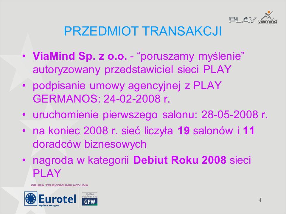 4 PRZEDMIOT TRANSAKCJI ViaMind Sp. z o.o. - poruszamy myślenie autoryzowany przedstawiciel sieci PLAY podpisanie umowy agencyjnej z PLAY GERMANOS: 24-