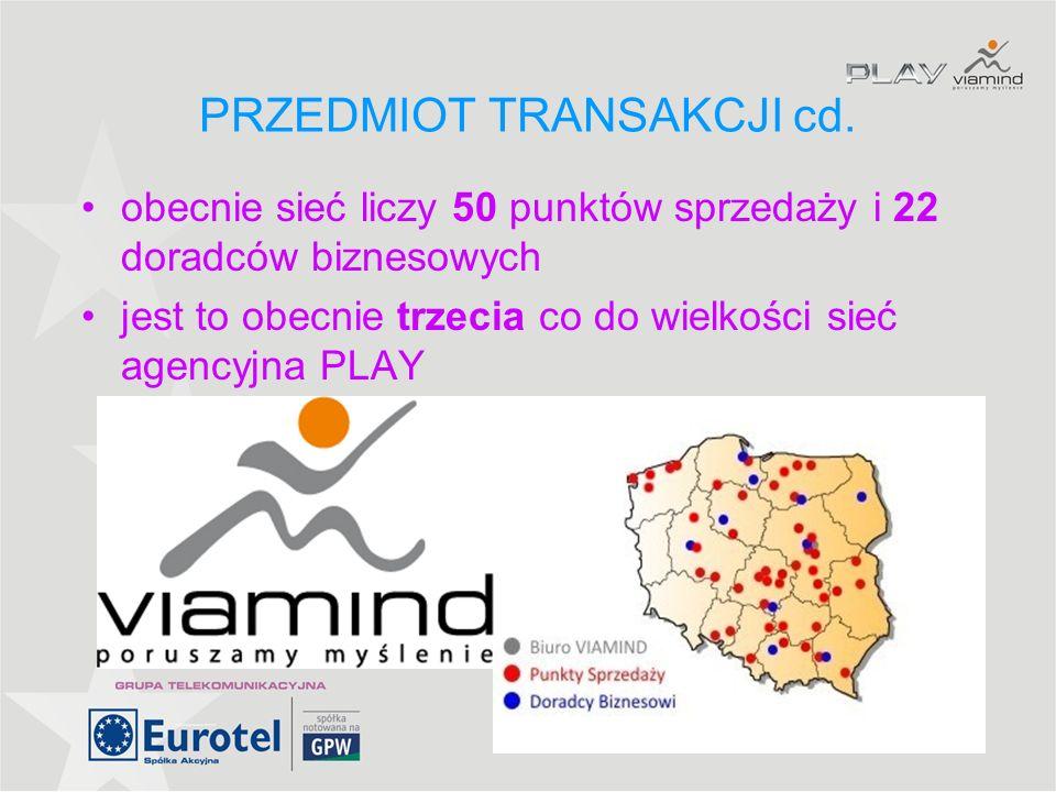 6 WARUNKI TRANSAKCJI transakcja została zawarta w dniu 30 września przedmiotem jest zakup 70% udziałów ViaMind Sp z o.o.