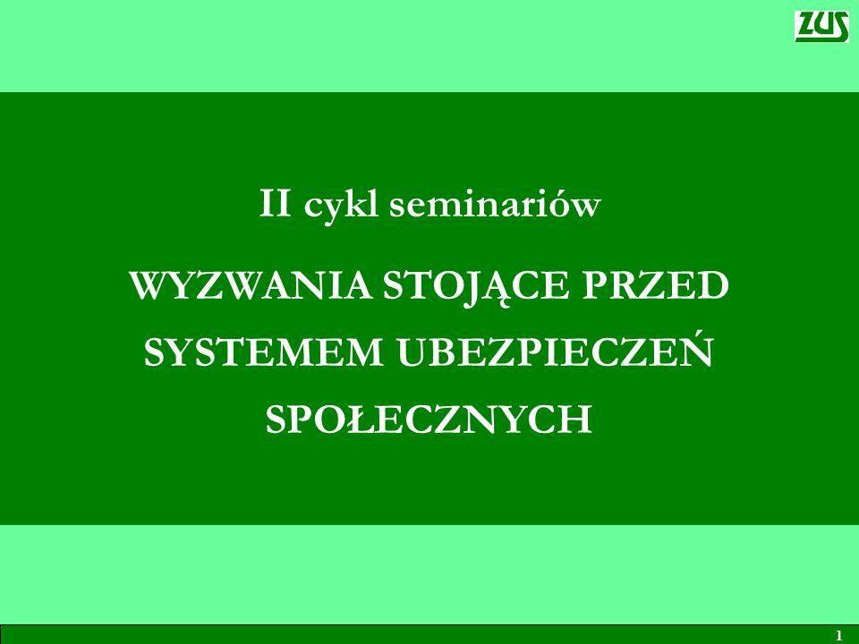 1 II cykl seminariów WYZWANIA STOJĄCE PRZED SYSTEMEM UBEZPIECZEŃ SPOŁECZNYCH