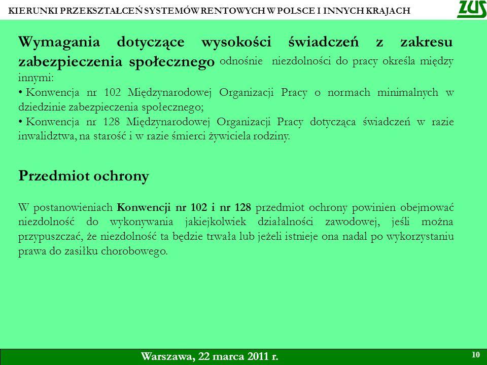 KIERUNKI PRZEKSZTAŁCEŃ SYSTEMÓW RENTOWYCH W POLSCE I INNYCH KRAJACH 10 Warszawa, 22 marca 2011 r. Wymagania dotyczące wysokości świadczeń z zakresu za