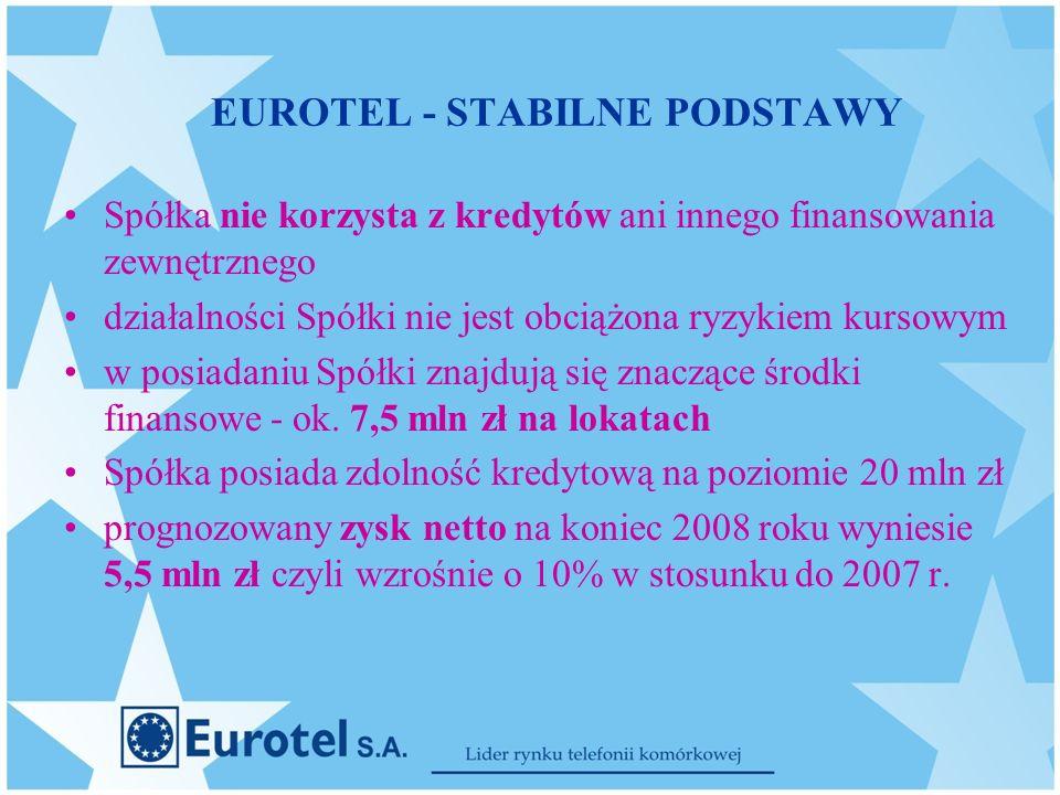 EUROTEL - STABILNE PODSTAWY Spółka nie korzysta z kredytów ani innego finansowania zewnętrznego działalności Spółki nie jest obciążona ryzykiem kursowym w posiadaniu Spółki znajdują się znaczące środki finansowe - ok.