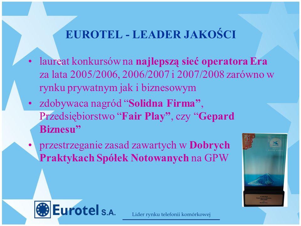 EUROTEL - LEADER JAKOŚCI laureat konkursów na najlepszą sieć operatora Era za lata 2005/2006, 2006/2007 i 2007/2008 zarówno w rynku prywatnym jak i biznesowym zdobywaca nagród Solidna Firma, Przedsiębiorstwo Fair Play, czy Gepard Biznesu przestrzeganie zasad zawartych w Dobrych Praktykach Spółek Notowanych na GPW