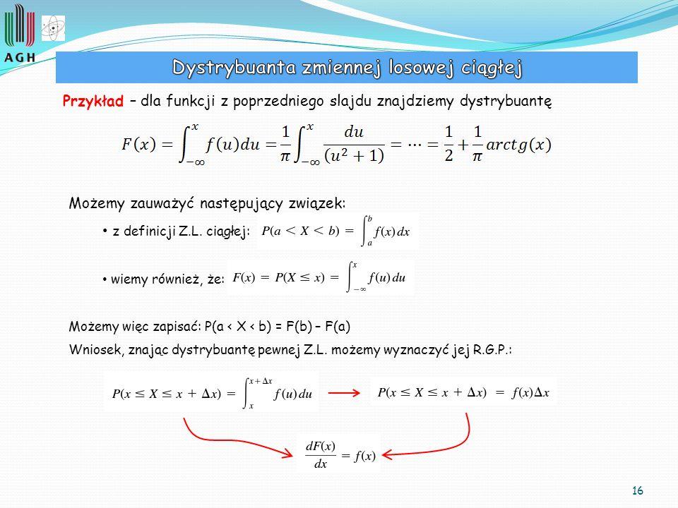 16 Przykład – dla funkcji z poprzedniego slajdu znajdziemy dystrybuantę Możemy zauważyć następujący związek: z definicji Z.L. ciągłej: wiemy również,