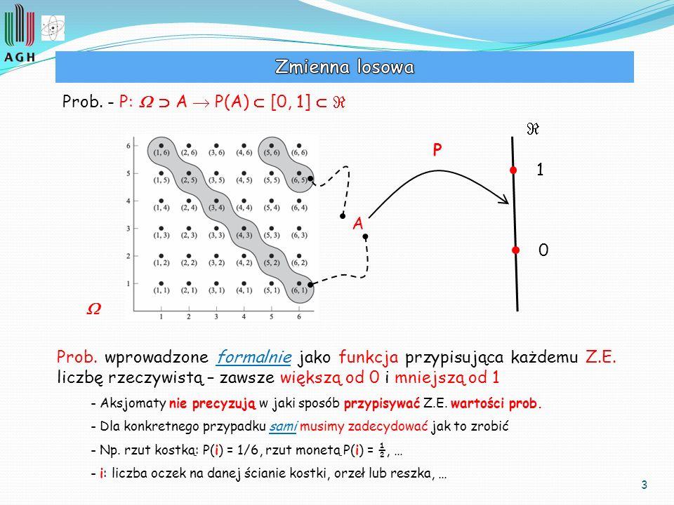 3 Prob. - P: A P(A) [0, 1] A P 0 1 Prob. wprowadzone formalnie jako funkcja przypisująca każdemu Z.E. liczbę rzeczywistą – zawsze większą od 0 i mniej