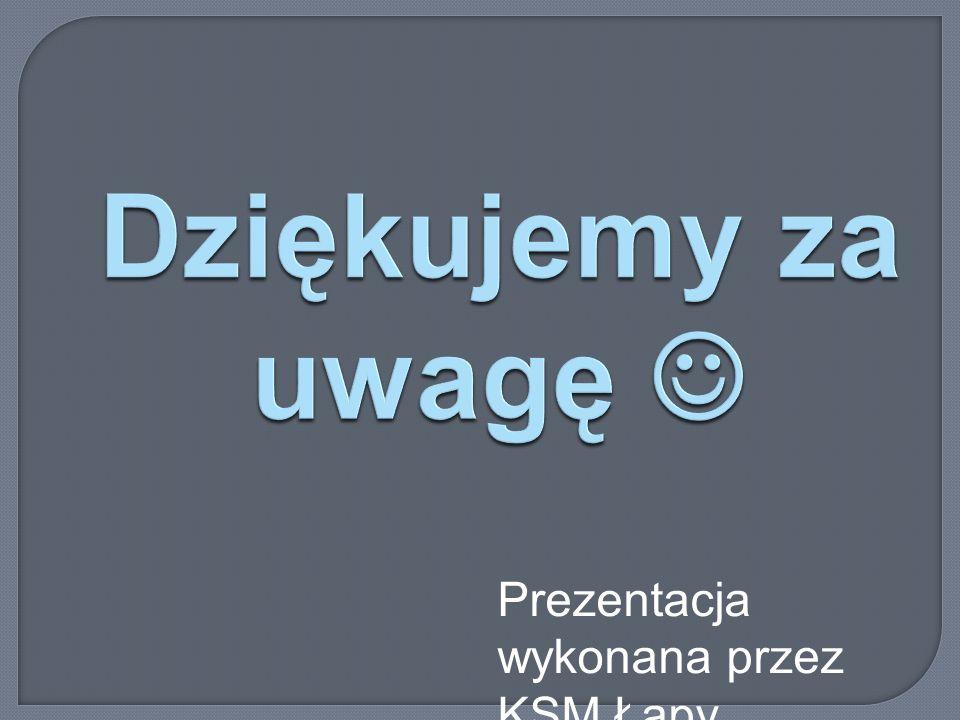 Dziękujemy za uwagę Dziękujemy za uwagę Prezentacja wykonana przez KSM Łapy