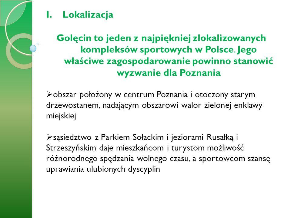 I.Lokalizacja Golęcin to jeden z najpiękniej zlokalizowanych kompleksów sportowych w Polsce. Jego właściwe zagospodarowanie powinno stanowić wyzwanie
