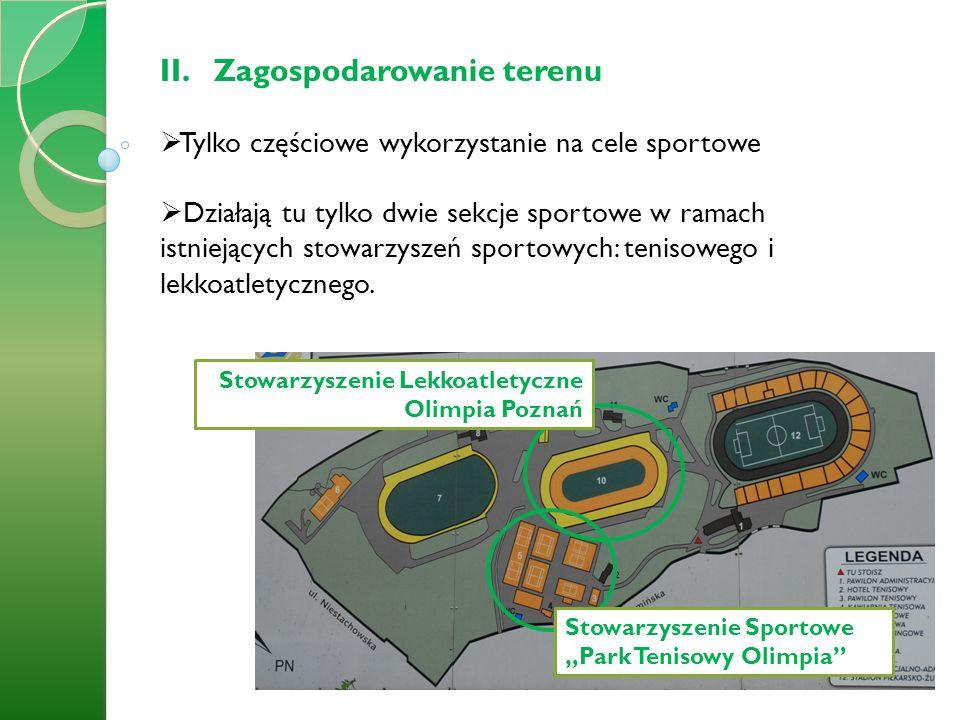 II.Zagospodarowanie terenu Tylko częściowe wykorzystanie na cele sportowe Działają tu tylko dwie sekcje sportowe w ramach istniejących stowarzyszeń sp