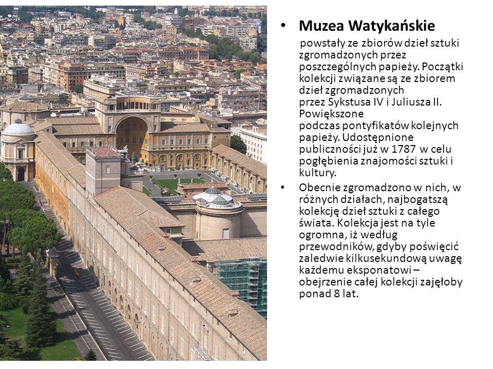 Muzea Watykańskie powstały ze zbiorów dzieł sztuki zgromadzonych przez poszczególnych papieży. Początki kolekcji związane są ze zbiorem dzieł zgromadz