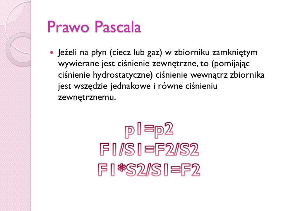Prawo Pascala Jeżeli na płyn (ciecz lub gaz) w zbiorniku zamkniętym wywierane jest ciśnienie zewnętrzne, to (pomijając ciśnienie hydrostatyczne) ciśni