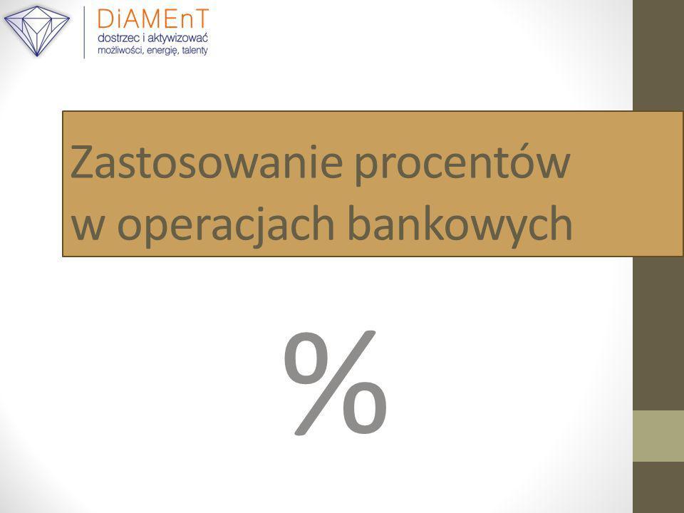 Zastosowanie procentów w operacjach bankowych %
