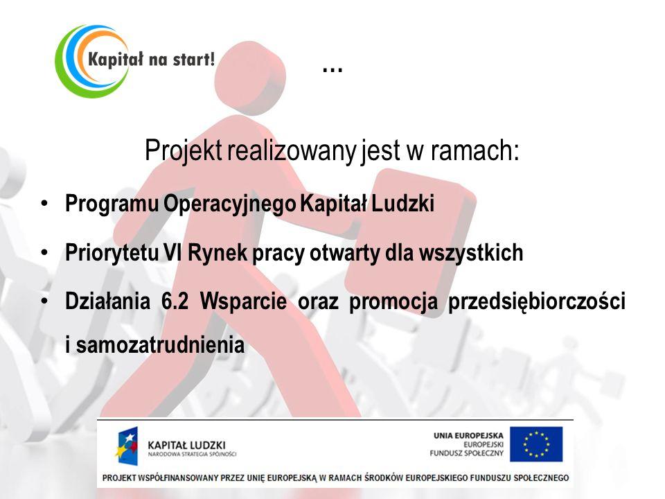 … Projekt realizowany jest w ramach: Programu Operacyjnego Kapitał Ludzki Priorytetu VI Rynek pracy otwarty dla wszystkich Działania 6.2 Wsparcie oraz