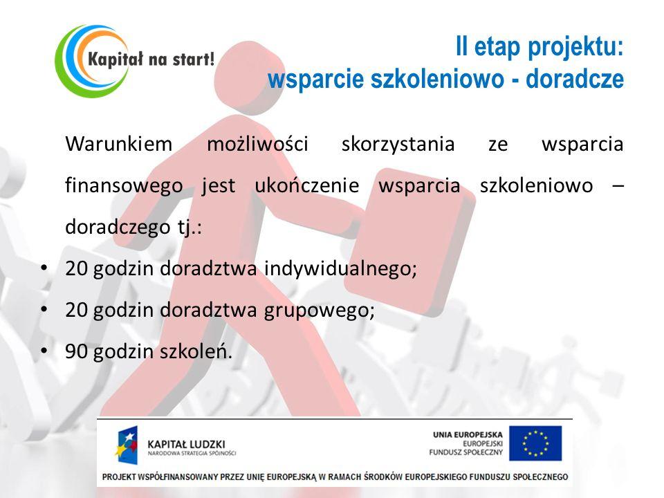 II etap projektu: wsparcie szkoleniowo - doradcze Warunkiem możliwości skorzystania ze wsparcia finansowego jest ukończenie wsparcia szkoleniowo – dor
