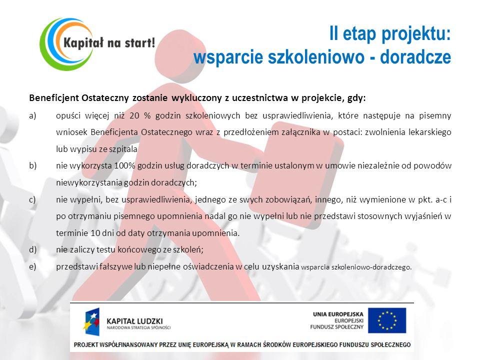 II etap projektu: wsparcie szkoleniowo - doradcze Beneficjent Ostateczny zostanie wykluczony z uczestnictwa w projekcie, gdy: a)opuści więcej niż 20 %