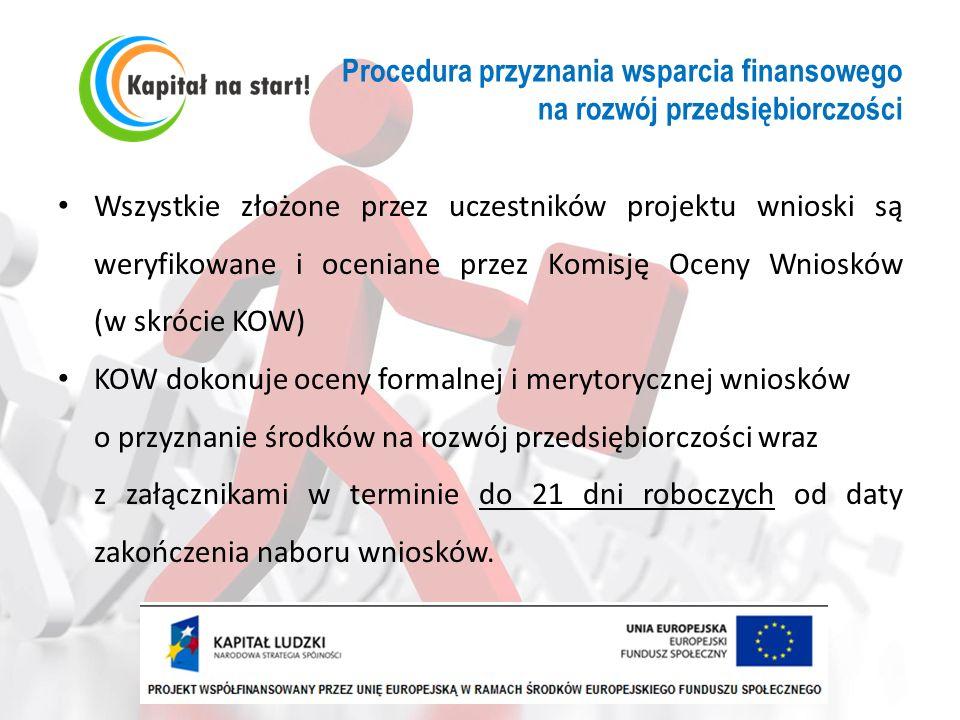 Procedura przyznania wsparcia finansowego na rozwój przedsiębiorczości Wszystkie złożone przez uczestników projektu wnioski są weryfikowane i oceniane