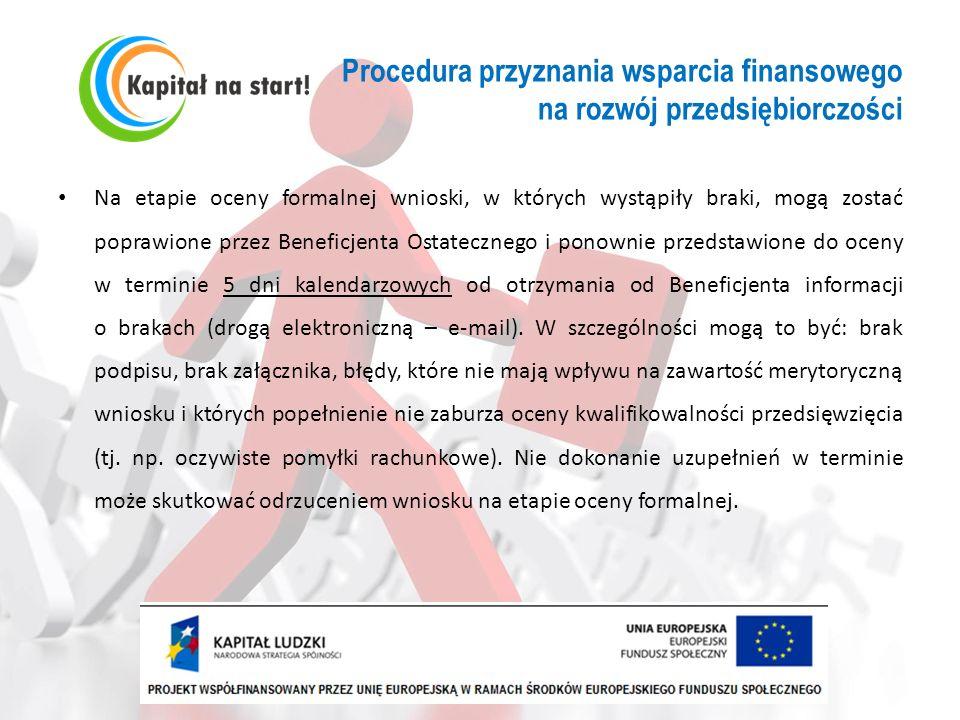 Procedura przyznania wsparcia finansowego na rozwój przedsiębiorczości Na etapie oceny formalnej wnioski, w których wystąpiły braki, mogą zostać popra