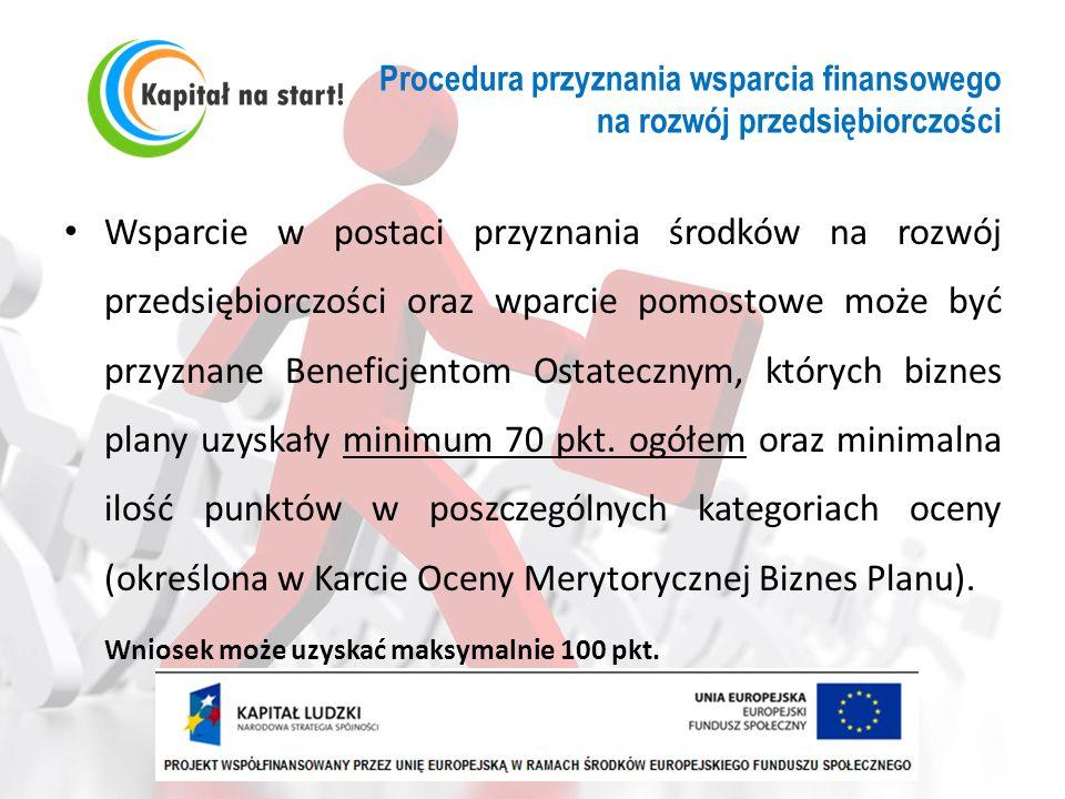 Procedura przyznania wsparcia finansowego na rozwój przedsiębiorczości Wsparcie w postaci przyznania środków na rozwój przedsiębiorczości oraz wparcie