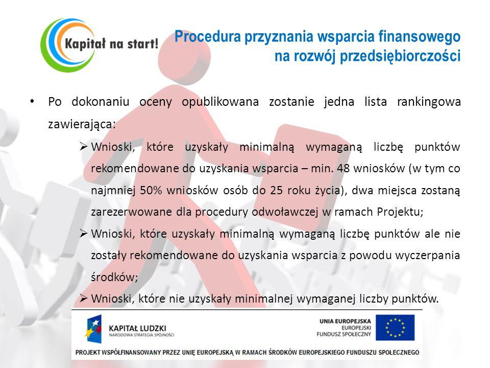 Procedura przyznania wsparcia finansowego na rozwój przedsiębiorczości Po dokonaniu oceny opublikowana zostanie jedna lista rankingowa zawierająca: Wn