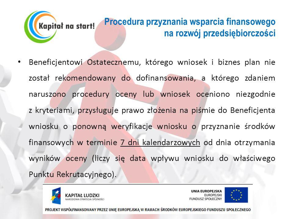 Procedura przyznania wsparcia finansowego na rozwój przedsiębiorczości Beneficjentowi Ostatecznemu, którego wniosek i biznes plan nie został rekomendo