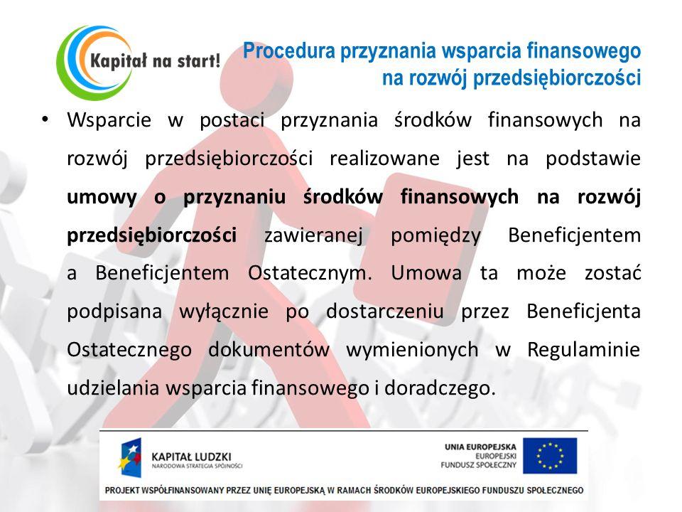 Procedura przyznania wsparcia finansowego na rozwój przedsiębiorczości Wsparcie w postaci przyznania środków finansowych na rozwój przedsiębiorczości