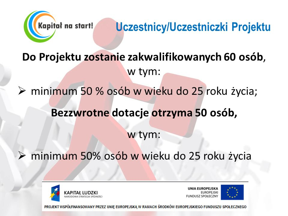 Uczestnicy/Uczestniczki Projektu Do Projektu zostanie zakwalifikowanych 60 osób, w tym: minimum 50 % osób w wieku do 25 roku życia; Bezzwrotne dotacje