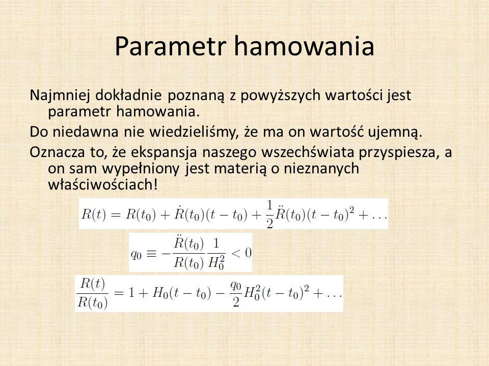 Parametr hamowania Najmniej dokładnie poznaną z powyższych wartości jest parametr hamowania. Do niedawna nie wiedzieliśmy, że ma on wartość ujemną. Oz