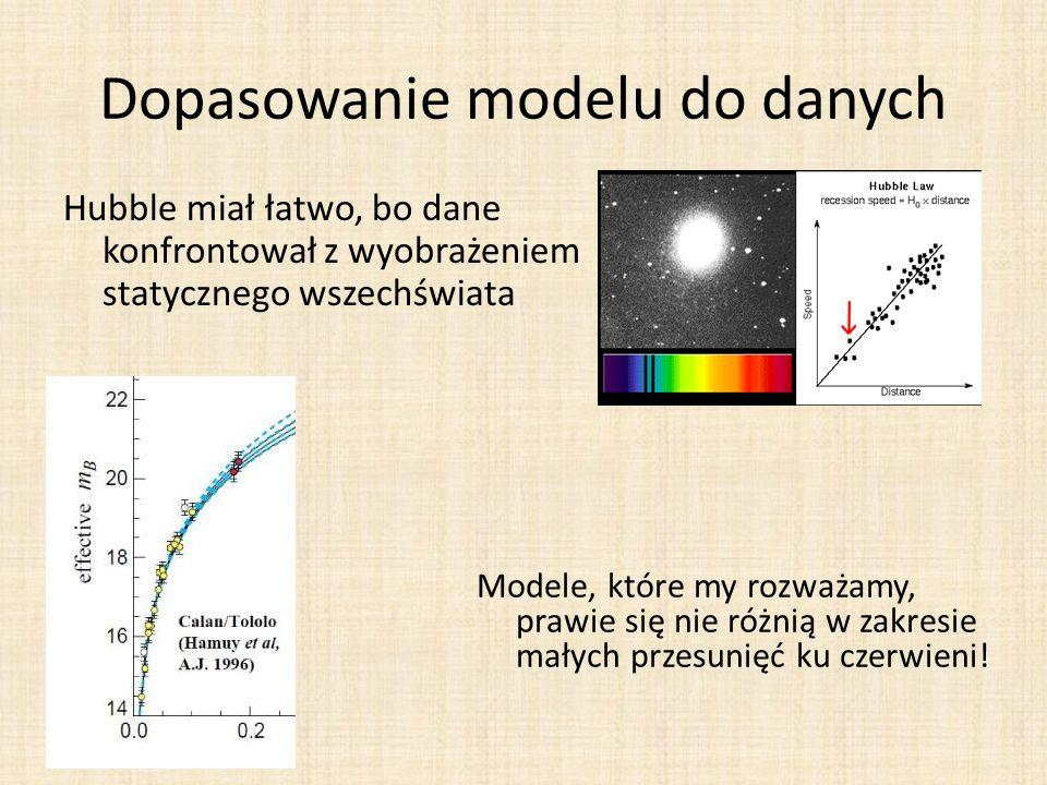 Dopasowanie modelu do danych Hubble miał łatwo, bo dane konfrontował z wyobrażeniem statycznego wszechświata Modele, które my rozważamy, prawie się nie różnią w zakresie małych przesunięć ku czerwieni!