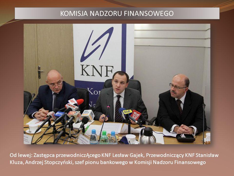 KOMISJA NADZORU FINANSOWEGO Od lewej: Zastępca przewodniczĄcego KNF Lesław Gajek, Przewodniczący KNF Stanisław Kluza, Andrzej Stopczyński, szef pionu