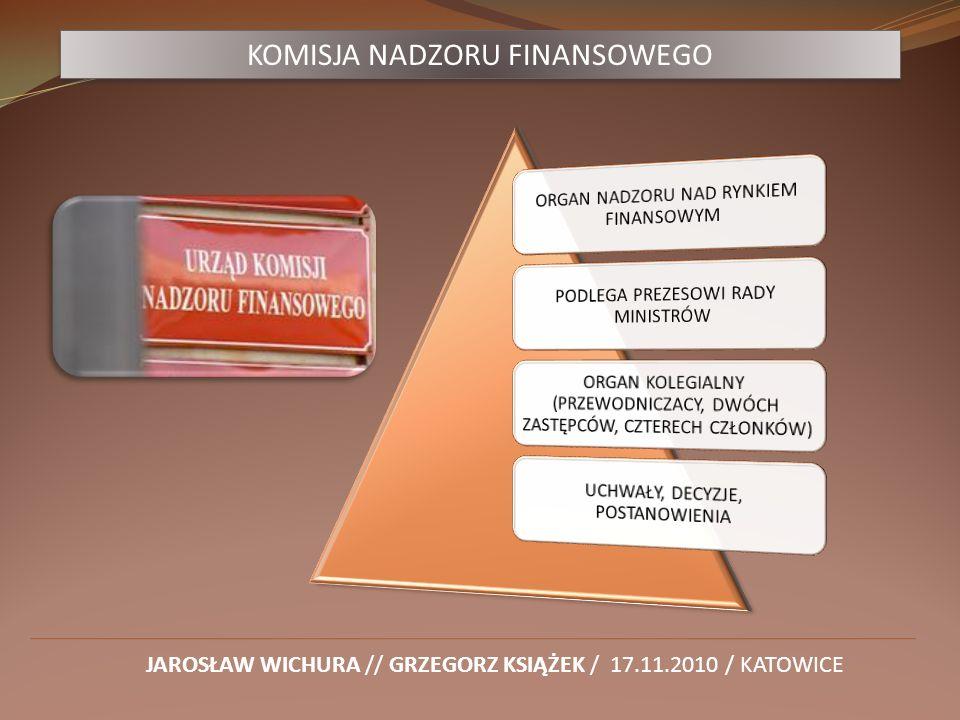 KOMISJA NADZORU FINANSOWEGO JAROSŁAW WICHURA // GRZEGORZ KSIĄŻEK / 17.11.2010 / KATOWICE