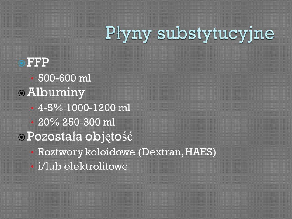 FFP 500-600 ml Albuminy 4-5% 1000-1200 ml 20% 250-300 ml Pozosta ł a obj ę to ść Roztwory koloidowe (Dextran, HAES) i/lub elektrolitowe