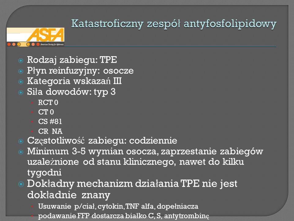 Rodzaj zabiegu: TPE P ł yn reinfuzyjny: osocze Kategoria wskaza ń III Si ł a dowodów: typ 3 RCT 0 CT 0 CS #81 CR NA Cz ę stotliwo ść zabiegu: codzienn