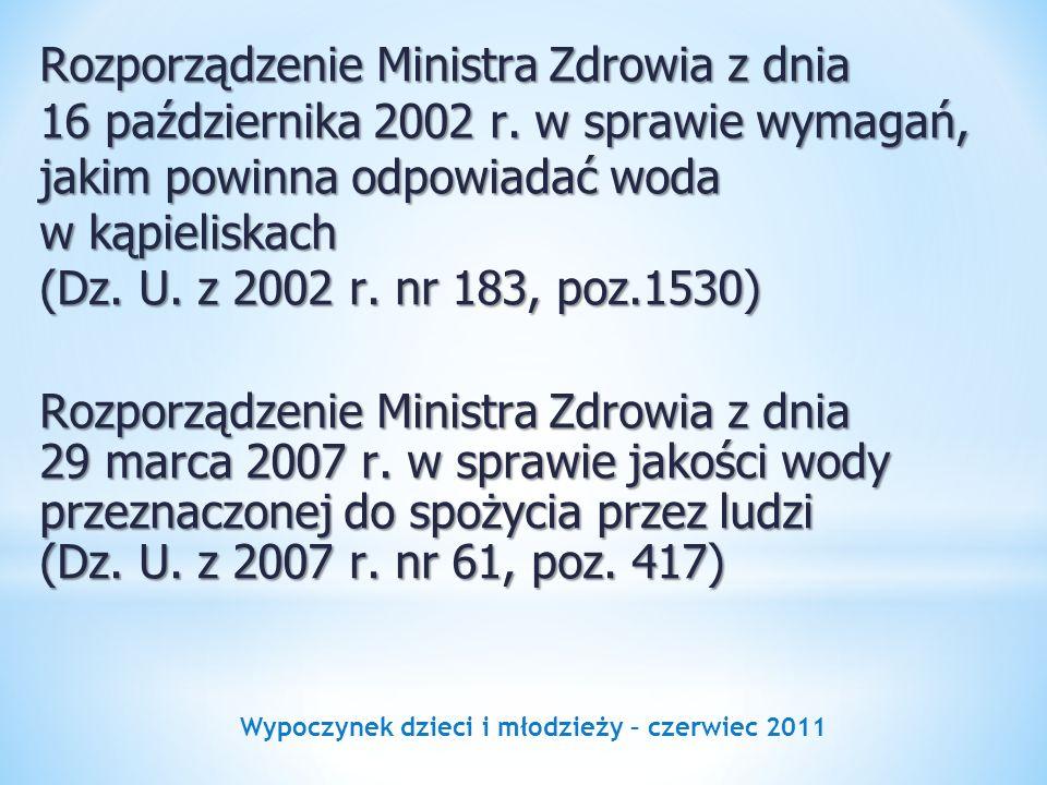 Wypoczynek dzieci i młodzieży – czerwiec 2011 Rozporządzenie Ministra Zdrowia z dnia 16 października 2002 r. w sprawie wymagań, jakim powinna odpowiad