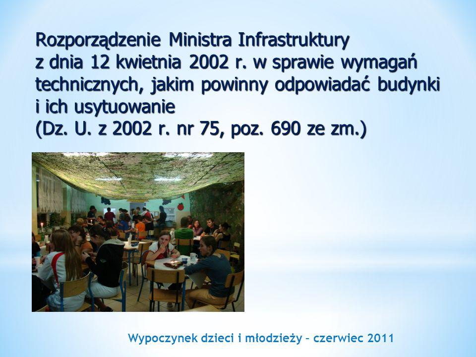 Wypoczynek dzieci i młodzieży – czerwiec 2011 Rozporządzenie Ministra Infrastruktury z dnia 12 kwietnia 2002 r. w sprawie wymagań technicznych, jakim